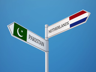 Pakistan Netherlands  Sign Flags Concept
