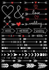 hand-drawn wedding arrows, vector set