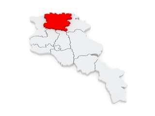 Map of Lori. Armenia.