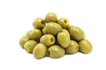 a handful of green olives on white background