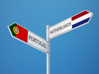 Portugal Netherlands  Sign Flags Concept