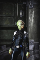 Alien female adventurer science fiction