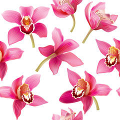 Seamless pattern with orchid