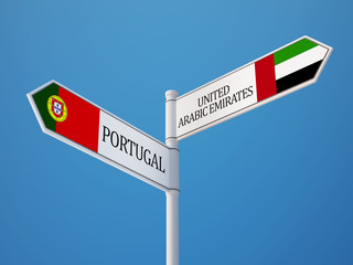 Portugal United Arab Emirates.  Sign Flags Concept
