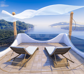 Balcony with Sea Views and two chairs vacation concept