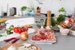 Wurst, Obst, Gemüse - Konzept gesunde