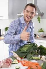 Man in the kitchen with thumb up preparing dinner.