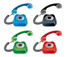 vector set of colored phones