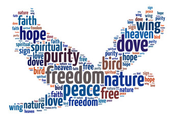 Words illustration of concept of freedom over white background