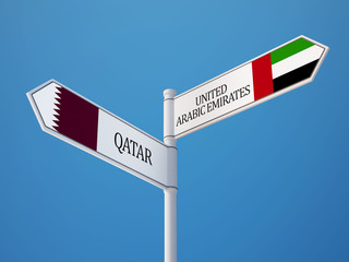 Qatar United Arab Emirates.  Sign Flags Concept