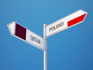 Poland Qatar  Sign Flags Concept