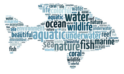 Words illustration of aquatic life on isolated background