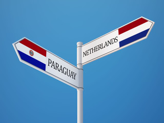 Paraguay Netherlands  Sign Flags Concept