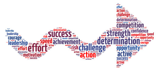 Words illustration of concept of success over white background
