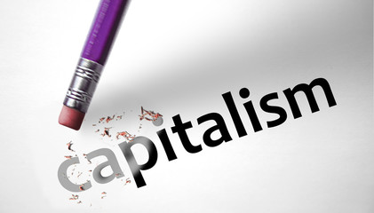 Eraser deleting the word capitalism