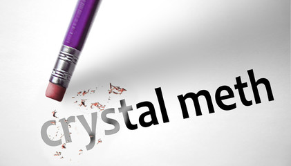 Eraser deleting the word Crystal Meth