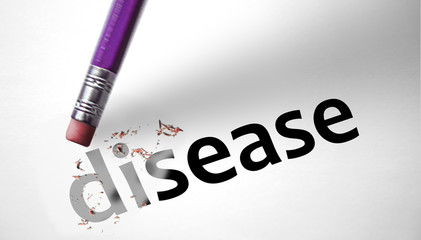 Eraser deleting the word Disease