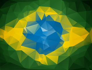 Abstract geometric background with brasil flag colors