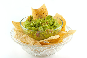 Homemade Guacamole Dip With Tortilla Chips