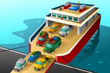 Cars in vacation going into a big ferry