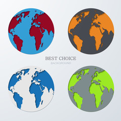 Vector modern  earth icons set