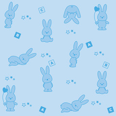Baby blue background. Funny rabbit