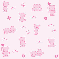 Baby pink background. Funny bears