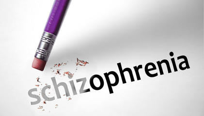 Eraser deleting the word Schizophrenia