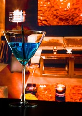 blue cocktail drink on a lounge bar table