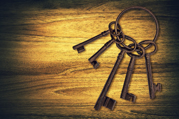 old keys on wood