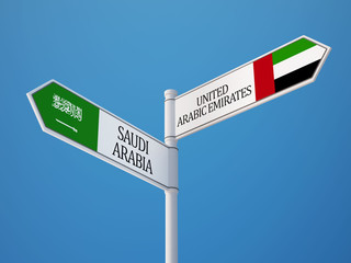 Saudi Arabia United Arab Emirates.  Sign Flags Concept