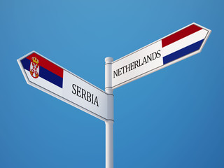 South Africa Netherlands  Sign Flags Concept