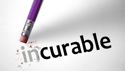 Eraser changing the word Incurable for Curable
