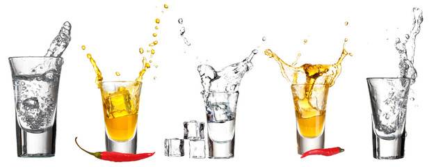 Collage of glasses vodka with splashes isolated on white