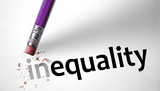 Eraser changing the word inequality for equality poster