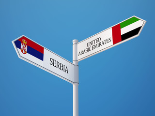 South Africa United Arab Emirates.  Sign Flags Concept