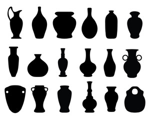 Black silhouettes of the vases and jars,vector