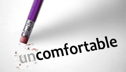 Eraser changing the word Uncomfortable for Comfortable