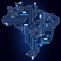 Map of Brazil with electronic circuit