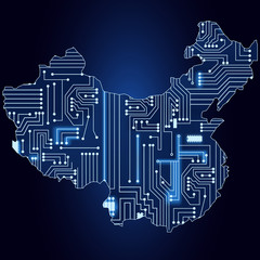 Map of China with electronic circuit