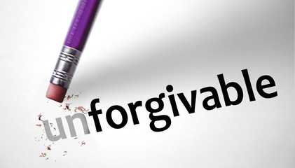 Eraser changing the word Unforgivable for Forgivable