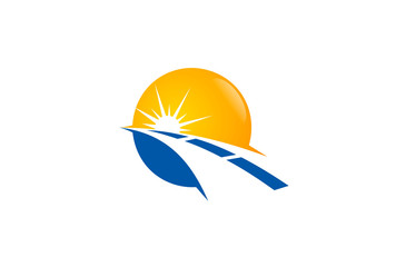 road and sun vector logo