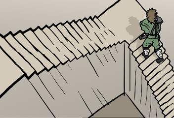 Comic stairs draw