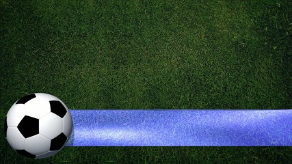 Rotating soccer ball with banner on playing field - Background