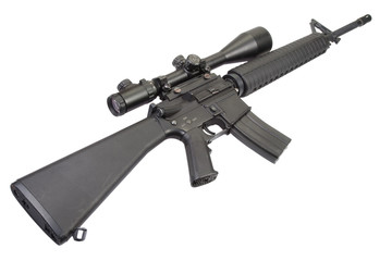 m16 rifle with telescopic sight isolated on a white background