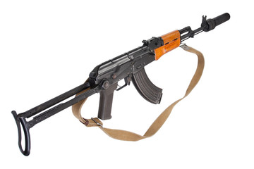 Kalashnikov AK47 with silencer isolated on white