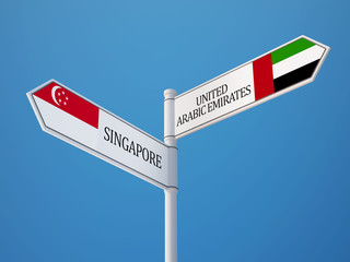Singapore United Arab Emirates.  Sign Flags Concept