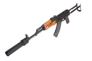 Kalashnikov AK47 with silencer isolated on white