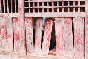 Old red wooden wall. Bandipur-Nepal. 0462