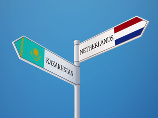 Kazakhstan Netherlands  Sign Flags Concept
